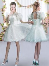 Shining White Short Sleeves Tulle Lace Up Quinceanera Court Dresses for Prom and Party and Wedding Party