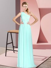 Trendy Sleeveless Floor Length Ruching Lace Up Homecoming Dress with Apple Green