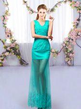 Turquoise Lace Up Dama Dress Lace Sleeveless Floor Length