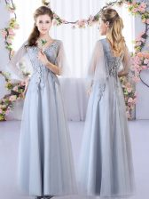 Floor Length Grey Quinceanera Court of Honor Dress Tulle Sleeveless Appliques