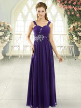 Free and Easy Purple Lace Up Prom Party Dress Beading and Ruching Sleeveless Floor Length