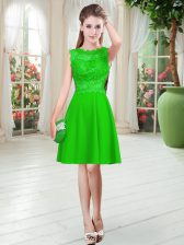 Fine Green Zipper Homecoming Dress Lace Sleeveless Knee Length