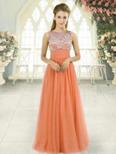 Floor Length Backless Orange for Prom and Party and Military Ball with Beading