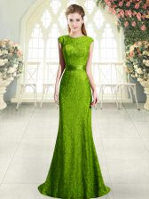 Custom Design Green Mermaid Beading and Lace Prom Dress Backless Sleeveless