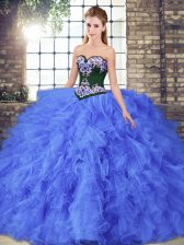 Elegant Sweetheart Sleeveless Tulle Vestidos de Quinceanera Beading and Embroidery Lace Up