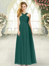 Straps Sleeveless Prom Dress Floor Length Ruching Peacock Green Chiffon