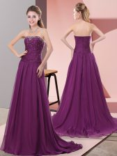Attractive A-line Sleeveless Purple Sweep Train Zipper