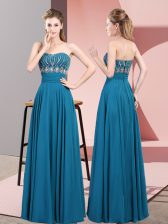 Fantastic Blue Empire Strapless Sleeveless Chiffon Floor Length Lace Up Beading Dress for Prom