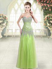 Yellow Green Sleeveless Floor Length Beading Zipper Prom Gown