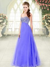 Tulle Sleeveless Floor Length Prom Evening Gown and Beading
