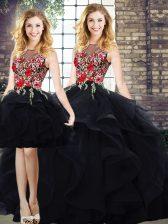 Wonderful Bateau Sleeveless Lace Up Quinceanera Dresses Black Tulle