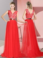 Graceful Sweep Train Empire Prom Evening Gown Red V-neck Tulle Sleeveless Zipper