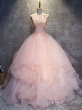 Sleeveless Tulle Floor Length Lace Up Ball Gown Prom Dress in Pink with Appliques and Ruffles