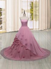 Great Tulle Strapless Sleeveless Brush Train Lace Up Hand Made Flower Ball Gown Prom Dress in Pink