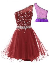 On Sale Sleeveless Tulle Mini Length Side Zipper Prom Dresses in Wine Red with Beading
