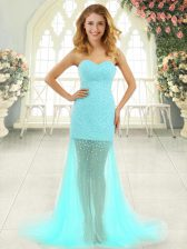 Elegant Brush Train Column/Sheath Aqua Blue Sweetheart Tulle Sleeveless Zipper