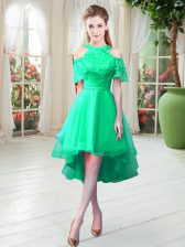 Perfect High Low Turquoise Homecoming Dress Tulle Short Sleeves Lace