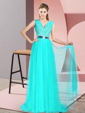 Eye-catching Turquoise Prom Dresses V-neck Sleeveless Sweep Train Zipper