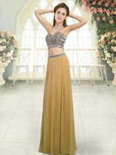 Sophisticated Floor Length Two Pieces Sleeveless Gold Backless