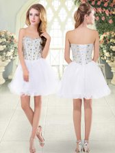 Delicate Sleeveless Mini Length Beading Lace Up Evening Dress with White