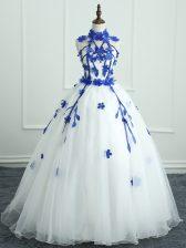Cute Floor Length Ball Gowns Sleeveless White Sweet 16 Dress Zipper
