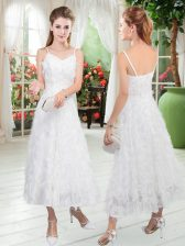 New Style White Zipper Prom Gown Ruffles Sleeveless Tea Length