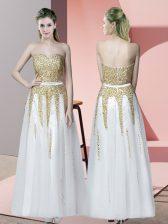 Fashion White Sleeveless Beading Floor Length Prom Party Dress