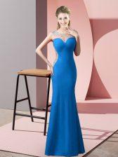 New Style Blue Zipper Evening Dress Beading Sleeveless Floor Length