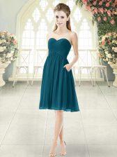 High End Knee Length Peacock Green Dress for Prom Sweetheart Sleeveless Zipper