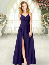 Custom Fit Purple Halter Top Zipper Ruching Prom Gown Sleeveless