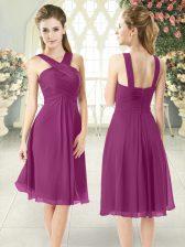 Designer Purple Straps Neckline Ruching Prom Dress Sleeveless Zipper