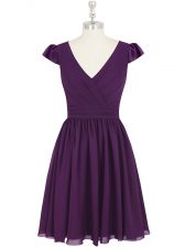 Great Cap Sleeves Mini Length Ruching Zipper Prom Evening Gown with Purple
