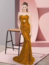 Modest Sleeveless Sequined Sweep Train Zipper Dress for Prom in Brown with Sequins