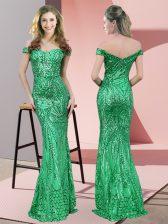 Designer Sequined Sleeveless Floor Length Prom Dresses and Ruching