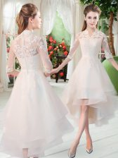White Homecoming Dress Prom and Party with Appliques High-neck Half Sleeves Zipper