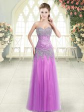 Floor Length Lilac Homecoming Dress Tulle Sleeveless Beading