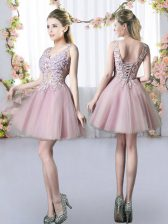 Perfect V-neck Sleeveless Dama Dress for Quinceanera Mini Length Appliques Pink Tulle
