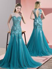 Sleeveless Tulle Sweep Train Backless Evening Dress in Teal with Beading and Appliques