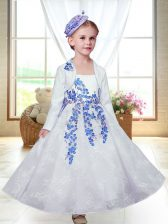 Ankle Length A-line Sleeveless White Flower Girl Dresses for Less Zipper