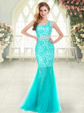 Sexy Sleeveless Zipper Floor Length Beading and Lace Prom Gown