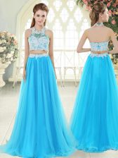 Aqua Blue Two Pieces Halter Top Sleeveless Tulle Floor Length Zipper Lace Prom Dress