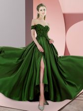 Green Homecoming Dress Off The Shoulder Sleeveless Sweep Train Backless