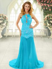 Aqua Blue Scoop Neckline Lace Prom Party Dress Sleeveless Backless