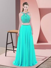 Admirable Aqua Blue Two Pieces Beading Dress for Prom Backless Elastic Woven Satin Sleeveless