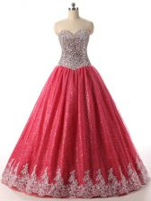 Attractive Sweetheart Sleeveless Sequined Ball Gown Prom Dress Beading and Appliques Lace Up