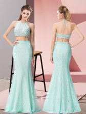 Comfortable Floor Length Two Pieces Sleeveless Apple Green Prom Gown Backless