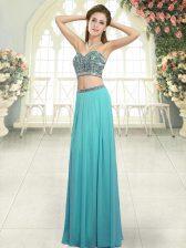 Stunning Sweetheart Sleeveless Backless Homecoming Dress Aqua Blue Chiffon