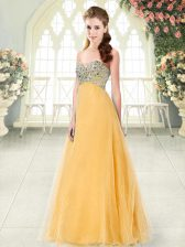 Fantastic Floor Length Lace Up Orange for Prom and Party with Beading