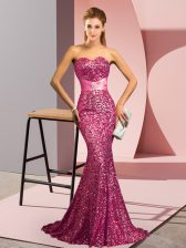 Fancy Pink Mermaid Sweetheart Sleeveless Sequined Sweep Train Backless Beading Prom Evening Gown