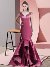 Suitable Side Zipper Evening Dress Red for Prom and Party and Military Ball with Beading and Appliques Sweep Train